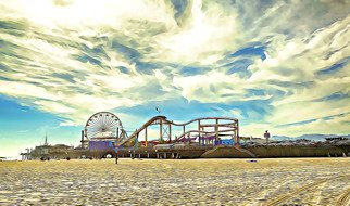 Paul Berriff: 'santa monica pier', 2018 Digital Art, Beach. Artist Description: This is a limited edition fine art photograph produced on archival museum paper.  Santa Monica Pier, Santa Monica California, California coast, Pacific Coast Highway, California beach...