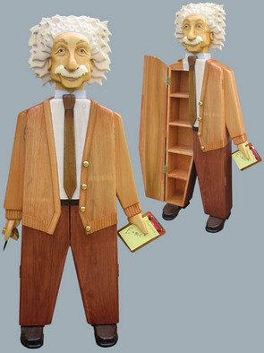 Paul Carbo: 'Albert Eintsein', 2007 Furniture, Famous People. Artist Description:  Custom handmade, free- standing wood cabinets as life- size caricatures of famous people ...