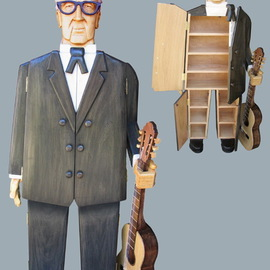 Paul Carbo: 'Andres Segovia', 2009 Wood Sculpture, Famous People. Artist Description:  Custom, handmade, free- standing, stained wood cabinet as life- size caricature of Andres Segovia ...