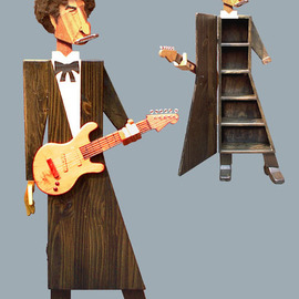 Paul Carbo: 'Bob Dylan', 2005 Wood Sculpture, Famous People. Artist Description:  Custom, handmade, free- standing, stained wood cabinet as life- size caricature of Bob Dylan ...
