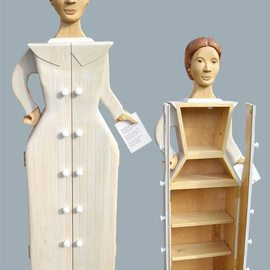 Paul Carbo: 'Emily Dickinson', 2010 Wood Sculpture, Famous People. Artist Description: Custom handmade, free- standing wood cabinets as life- size caricature of Emily Dickinson...
