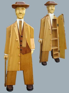 Paul Carbo: 'Frank Lloyd Wright', 2007 Furniture, Famous People. Artist Description:   Custom, handmade, free- standing, stained wood cabinet as life- size caricature of Frank Lloyd Wright ...
