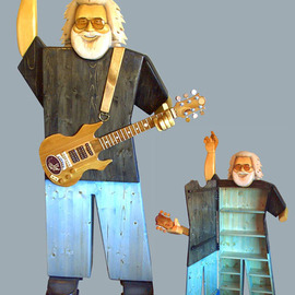 Paul Carbo: 'Jerry Garcia', 2009 Wood Sculpture, Famous People. Artist Description:  Custom, handmade, free- standing, stained wood cabinet as life- size caricature of Jerry Garcia ...