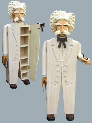 Paul Carbo: 'Mark Twain', 2009 Wood Sculpture, Famous People.  Custom, handmade, free- standing, stained wood cabinet as life- size caricature of Mark Twain ...