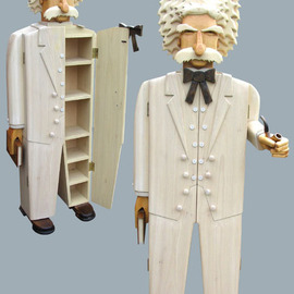 Paul Carbo: 'Mark Twain', 2009 Wood Sculpture, Famous People. Artist Description:  Custom, handmade, free- standing, stained wood cabinet as life- size caricature of Mark Twain ...
