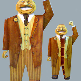 Paul Carbo: 'Teddy Roosevelt', 2005 Wood Sculpture, Famous People. Artist Description:  Custom, handmade, free- standing, stained wood cabinet as life- size caricature of Teddy Roosevelt ...