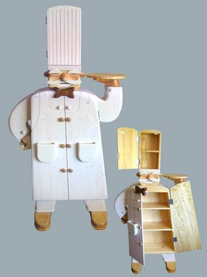 Paul Carbo: 'The Chef', 2006 Furniture, Figurative. Artist Description:  Custom, handmade, free- standing, stained wood cabinet as life- size caricature of The Chef ...