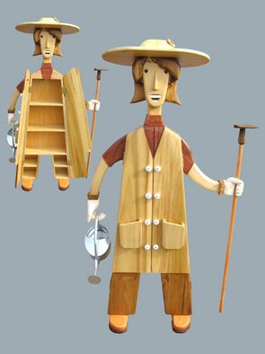 Paul Carbo: 'The Gardener', 2007 Wood Sculpture, Famous People.  Custom, handmade, free- standing, stained wood cabinet as life- size caricature of The Gardener ...