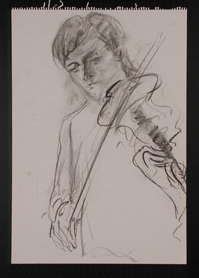 Paul Freeman: 'Violinist Brother', 1990 Charcoal Drawing, Undecided.
