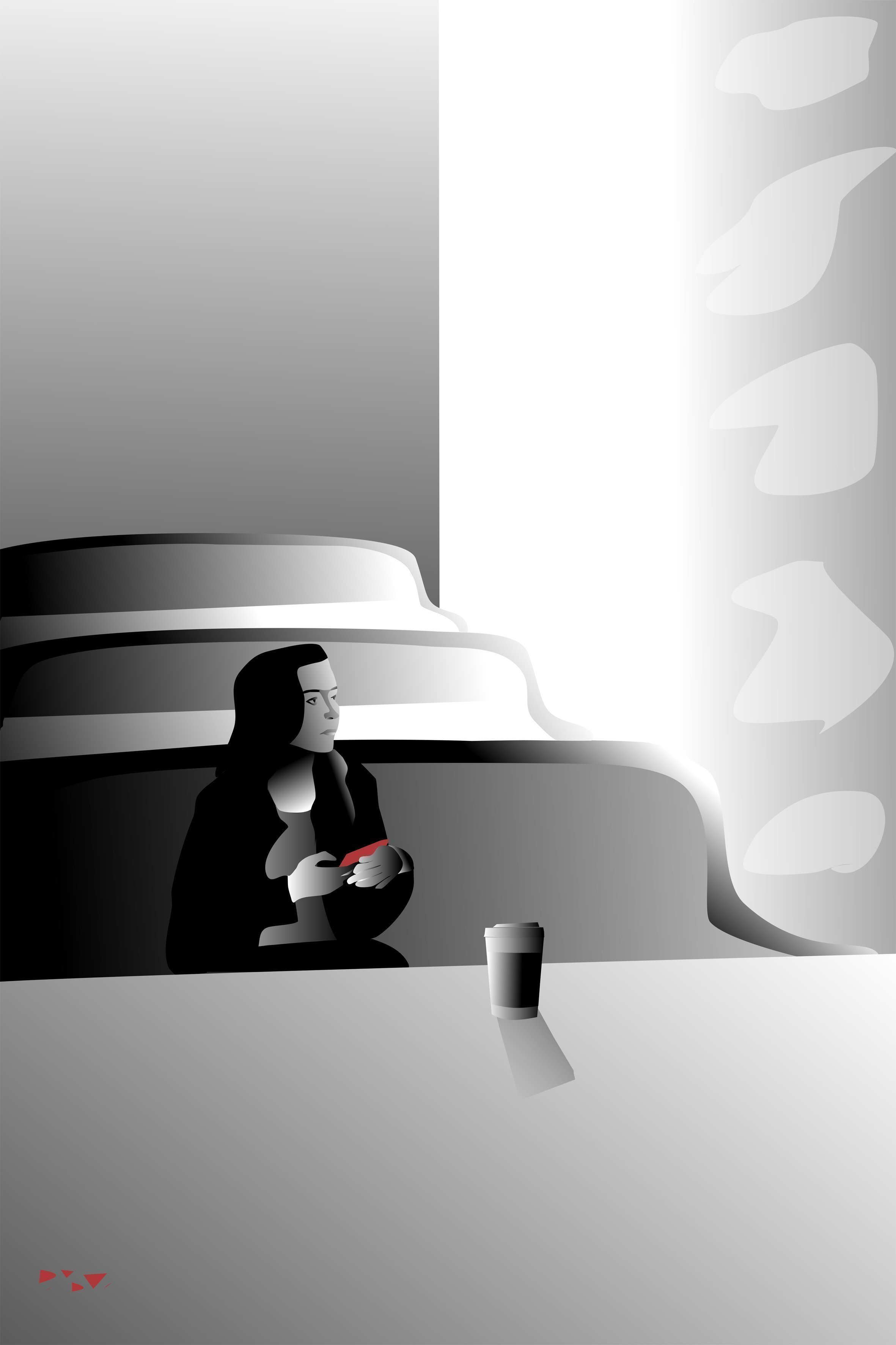 Pauline Van De Ven: 'diner digital vector', 2018 Digital Painting, Figurative. Artist Description: A numerically unique digital vector painting depicting a young woman in a diner. Restrained colors give the painting a soft, nuanced appearance. This large work needs clean white walls and a sparsely furnished room of modern design. High resolution of 14000 x 21000 px. at 300 dpi. Certificate ...