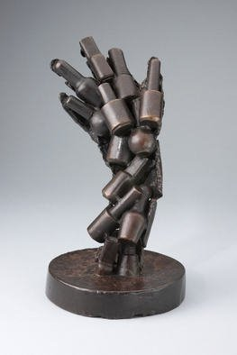 Paul Orzech: 'Adhesion', 2000 Bronze Sculpture, Abstract. Adhesion is an early sculpture by the artist that represents the connection in modern society between natural beauty and beauty- enhancing products.This sculpture' s fractured life- cast hand, represents natural beauty. The photo illustrates a series of nail polish bottles that compose the back of the fractured hand.  The ...
