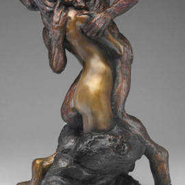 Paul Orzech: 'CONVERGENCE', 2003 Bronze Sculpture, Love. Artist Description:  A romantic couple merges physically and spiritually in this piece inspired by the union of love between two individuals.  The sculpture has a three tone patina, or coloration French Gold, French Brown, and French BlackIf this work is interesting, and thought provoking, you may enjoy a similar ...