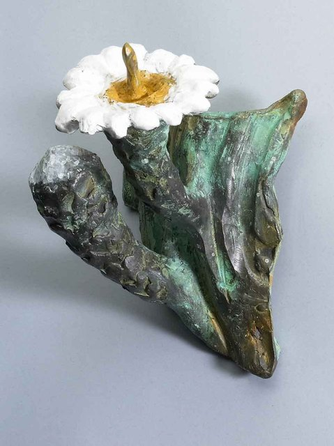 Paul Orzech  'Cactus Flower With Bud Wall Hanging', created in 2004, Original Sculpture Bronze.