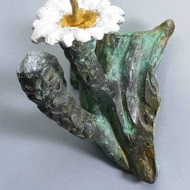 Paul Orzech: 'Cactus Flower with Bud Wall Hanging', 2004 Bronze Sculpture, Floral. Artist Description: A life like bronze reproduction of the Saguaro Flower and its bud. The white and yellow patina wash reproduces the coloration of the actual flower. The green patina reproduces the color of the Saguaro Cactus.  The wall hanging adds a spot of color to any wall or as ...