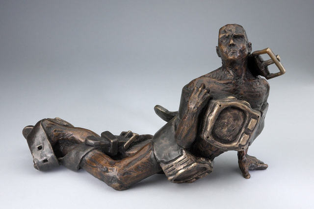 Paul Orzech  'Struggling With Time', created in 2002, Original Sculpture Bronze.