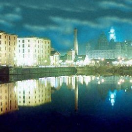 Paul Woods: 'Albert at Night', 1990 Color Photograph, Landscape. Artist Description: An image taken of the Albert Dock at night 1990...