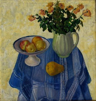 Pavel Tyryshkin: 'blue tablecloth', 2006 Oil Painting, Still Life. still life on a table covered with a blue tablecloth...