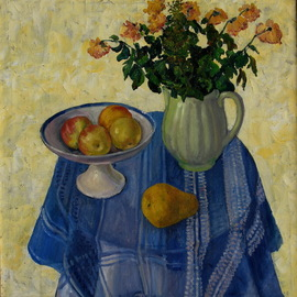 Pavel Tyryshkin: 'blue tablecloth', 2006 Oil Painting, Still Life. Artist Description: still life on a table covered with a blue tablecloth...