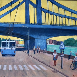 Pavel Tyryshkin: 'crimean bridge', 2020 Oil Painting, Urban. Artist Description: Crimean bridge in Moscow...