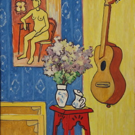 Pavel Tyryshkin: 'still life with guitar', 2020 Oil Painting, Still Life. Artist Description: bouquet, guitar, oil painting on canvas...