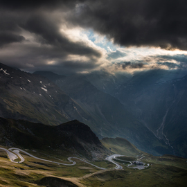 Pavel Rezac: 'sunset in alpine valley', 2018 Color Photograph, Landscape. Artist Description: alpine, alps, asphalt, attraction, austria, beautiful, blue, caravan, cloud, country, countryside, curve, destination, drive, europe, extreme, glacier, grass, high, highest, hill, holiday, landscape, mountain, national, nature, outdoor, panorama, park, pass, peak, road, rock, route, scenery, scenic, serpentine, sky, snow, speed, summer, sunny, tirol, tourism, transport, travel, trip, valley, ...