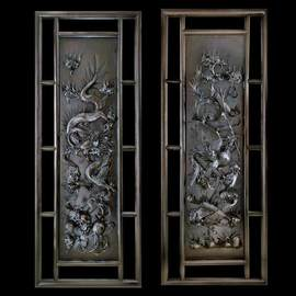 Dragon  phoenix wall decorative pair of  panels