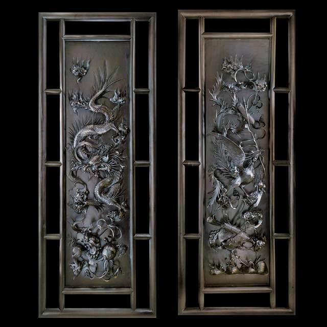 Pavel sorokin 39 dragon and phoenix wall decorative panel 39 sculpture wood artwork fantasy art - Wood panel artwork ...