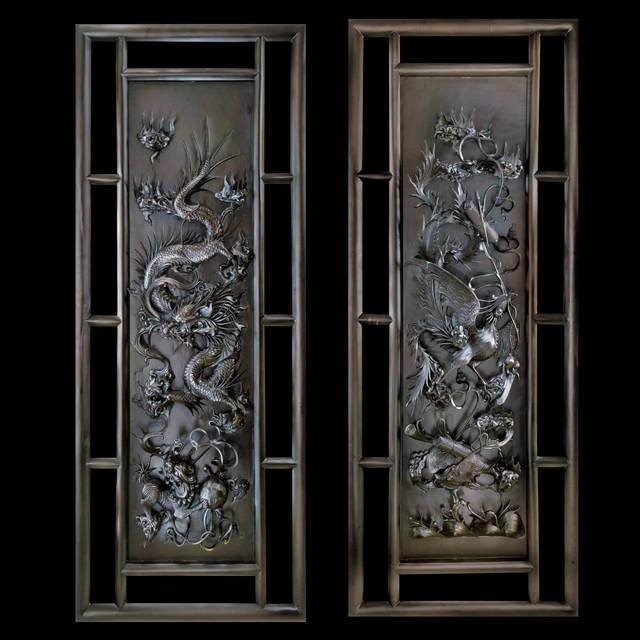 Pavel Sorokin Dragon And Phoenix Wood Carved Wall Diptych