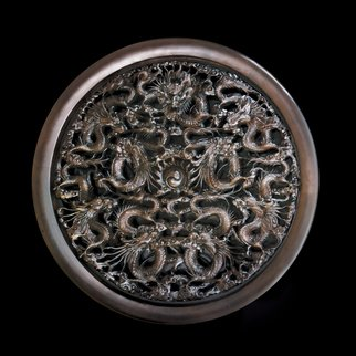 Pavel Sorokin: 'Dragon wood carved wall decorative round panel', 2016 , Fantasy.  Dragons decorative round wall panel was made by famous Vietnamese carpenter The carving is extremely delicate, based on my sketches and models. Therose- wood here - dark tinted used for this panel is unique and rarely exists in the World. ...