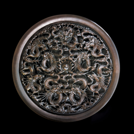 Dragon wood carved wall decorative round panel