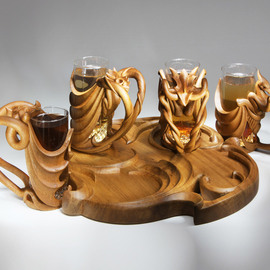 Elverd, a beer glass set on tray, carved tropical wood
