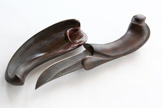 Pavel Sorokin: 'Gladius dagger in eben wood decorative scabbard', 2016 Metalsmith, Abstract. Artist Description:  this decorative knife is from my WOODIUS collection of gifts made of carved tropical wood. Handle and scabbard made of Black Eben wood. Blade is made of extremely high quality damascus steel ...