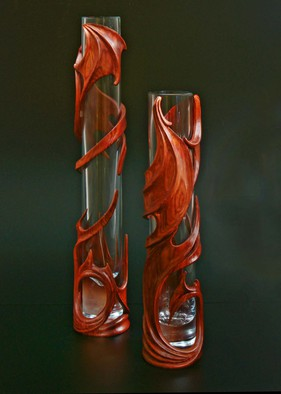 Pavel Sorokin Artwork Interior vase Marion,pair, carved tropical wood, 2011 Wood Sculpture, Abstract