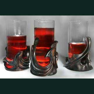 Pavel Sorokin Artwork Morus, set of  three glassholders and bottle holder, 2011 Wood Sculpture, Abstract