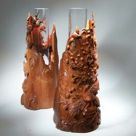 Pair of decorative interior vases carved of wood