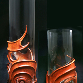 Pair of interior vases Amandin carved of rose wood
