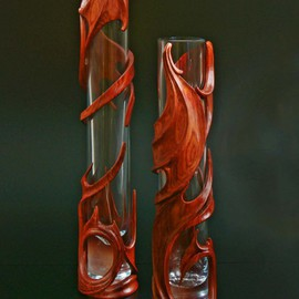Pair of interior vases Marion carved of rose wood