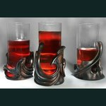 Set of  three glassholders and bottle holder By Pavel Sorokin