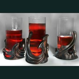 Set of  three glassholders and bottle holder