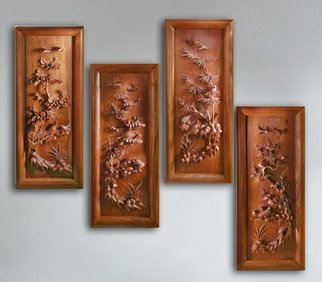 Pavel Sorokin: 'Wall decorative panels Four Seasons', 2014 , Floral.  This composition of four- seasons on- wall panels made of sophisticatedly- carved wood, with flowers and birds images in classical Chinese style. Nice decoration for oriental interior. Made from a tropical Mahogany Vietnam wood by copyright models. ...