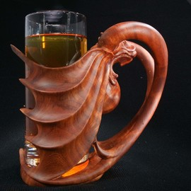 beer glass with wooden holder