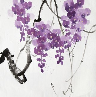 Pavel Sorokin: 'blooming fucsia', 2017 Ink Painting, Floral. Artist Description: art ink painting, shui- mo , fucsia flower, Chinese style, rice paper, floral, interior, decoration, original, precisely detailed, highly coloured, violet...