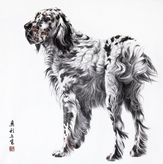 Pavel Sorokin: 'hunter', 2016 Ink Painting, Dogs. Artist Description: art ink painting, Gongbi, animal, dog, hound, laminated to natural silk base Chinese style, rice paper, floral, interior, decoration, original, precisely detailed, highly coloured...
