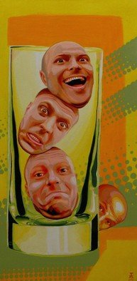 Artist: Eduardo Acevedo - Title: Ahogados en un vaso de agua - Medium: Acrylic Painting - Year: 2011
