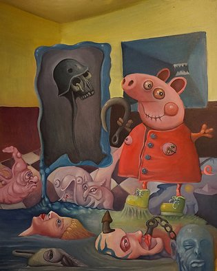 Pawel Batura: 'the spirit of opportunism', 2014 Oil Painting, Humor. Artist Description: The spirit of opportunism, oil on canvas, 80 x 100 cm...