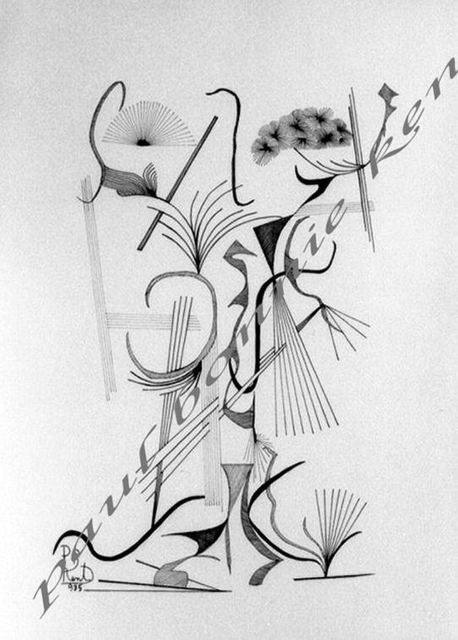 Paul Bonnie-Kent  'Vase With Aple An Grape', created in 1985, Original Drawing Pen.