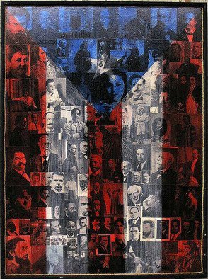 Collage by Pedro Martin De Clet titled: La Bandera de Puerto Rico, created in 2004