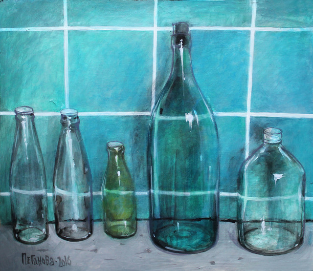 Olga Peganova  'Green Bottles', created in 2017, Original Painting Acrylic.