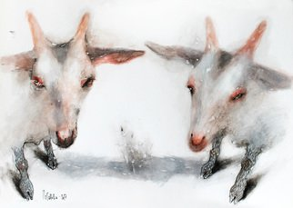 Olga Peganova: 'white goats', 2017 Watercolor, Animals. Artist Description: Watercolor painting Two white goats. ...
