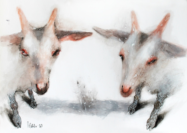 Olga Peganova  'White Goats', created in 2017, Original Painting Acrylic.